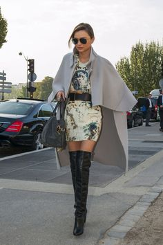 Miranda Kerr in thigh high black boots and a cape Mirandakerr, Miranda Kerr, Fashion Weeks, Thighs High Boots, Celeb Style, Fall Style, Street Style, Black Boots, Chic Fashion