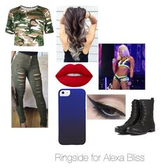 """Ringside for Alexa Bliss"" by xoxohugsxoxo ❤ liked on Polyvore featuring Boohoo, Lime Crime and Mehron"