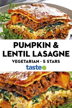 This tasty recipe for Pumpkin, Spinach & Lentil Lasagne is also the perfect size for sharing with friends and family. This tasty recipe for Pumpkin, Spinach & Lentil Lasagne is also the perfect size for sharing with friends and family. Cooking Recipes, Healthy Recipes, Vegetarian Protein Meals, Good Vegetarian Recipes, Vegetarian Lasagne, Vegan Dinners, Vegetable Recipes, Pumpkin Recipes Lunch, Veggie Meals