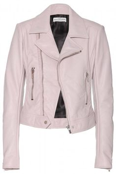 Leather Jacket Looks That Are Anything But Basic The 15 Best Leather Jackets Right Now- A perfect pink moto.The 15 Best Leather Jackets Right Now- A perfect pink moto. Pink Jacket, Suede Jacket, Jacket Style, Balenciaga Jacket, Pink Balenciaga, Riders Jacket, Moto Jacket, Best Leather Jackets, White Denim