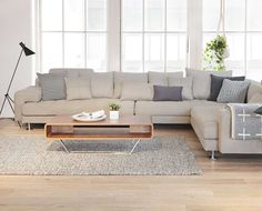 Sink into the all-around comfort of the Cepella sectional. With plenty of room for the entire family, this sectional combines a low-profile, detailed tufting, wide track arms with chrome legs that looks great from every angle. Purchase online at SCANDIS.com