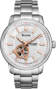Wonderful Watches: Bulova Gents Mechanical Stainless Steel Watch with Silver Dial Bulova Mens Watches, Rolex Watches, Watches For Men, Stainless Steel Bracelet, Stainless Steel Case, Skeleton Bracelet, Diamond Stores, Mechanical Watch, Silver Man