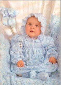 Vintage Baby Knitting Pattern Dress Bonnet Booties by carolrosa
