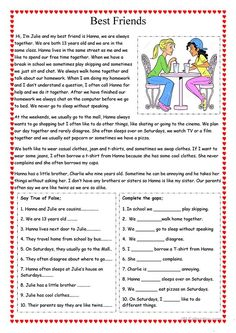 Best Friends worksheet - Free ESL printable worksheets made by teachers You are in the right place about Reading Comprehension intermediate Here we offer you the most beautiful pictures about the Read English Stories For Kids, Learning English For Kids, Teaching English Grammar, English Worksheets For Kids, English Lessons For Kids, English Writing Skills, English Reading, Learn English Words, English Activities