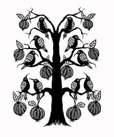 Plum Tree birds - paper cutting
