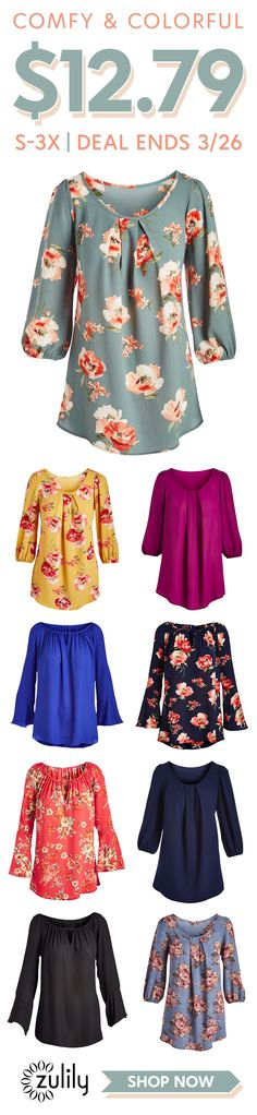 Sign up to shop two great tops at one great price - $12.79. With two great silhouettes and prints to suit every palette, this stylish selection of tunics has a little something for everyone. But hurry — these prices won't last forever! Shop sizes S-3X. Deal ends 3/26/18.
