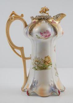 Vintage R. Prussia Chocolate Pot w/ a variety of flowers, gold gilt Chocolate Pots, Chocolate Coffee, Porcelain Vase, Ceramic Vase, Cafetiere, Tea Pot Set, Teapots And Cups, Tea Service, Vintage Dishes
