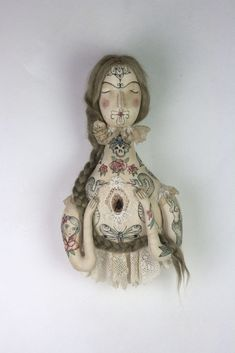 "tattooed art doll made with textile and illustration. ""Gwendolyn the Tattooed Lady"" is handmade by Pantovola #pantovola #tattooart #tattoodesign #ooak #textiledesign #textileart #tattoowomen #handmadedoll"