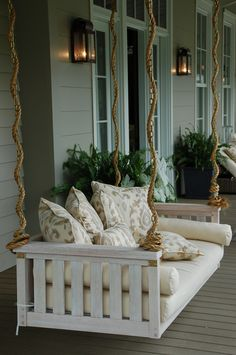 48 Amazing Southern Living Porch Swing Bed Ideas Youll Love 24 - Craft Home Ideas Balcony Swing, Patio Swing, Porch Swings, Swing Beds, Bed Swings, Rope Swing, Pergola Patio, Backyard, Southern Living Homes