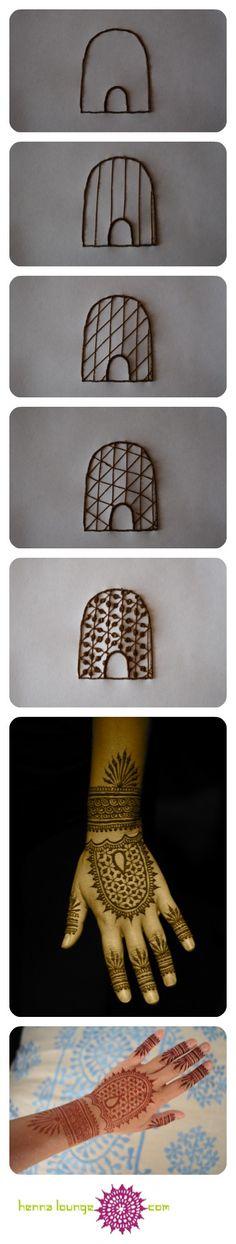 Geometric Henna Tutorial by www.hennalounge.com *for piping henna designs on cake