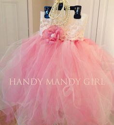 Blush dirty Pink and Ivory Lace flower girl tutu dress- up to size 5T  on Etsy, $70.00 flower girl dress