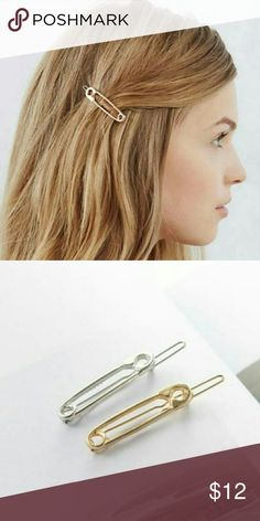 Safety Pin Barrette 1 piece New Silver tone Unbranded MintyDayDream  Accessories Hair Accessories