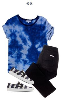 """""""Blue Tie Dye"""" by joelleduffin ❤ liked on Polyvore featuring Sandro, sass & bide, NOVICA and Mother of Pearl"""