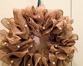 Gorgeous Burlap Wreath - 17 inches - with or without ribbon and pearl details