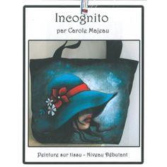Création de Carole Majeau - Patron de projet à peindre sur sac fourre-tout, chapeau et femme, fleurs et papillons, peinture pour tissu