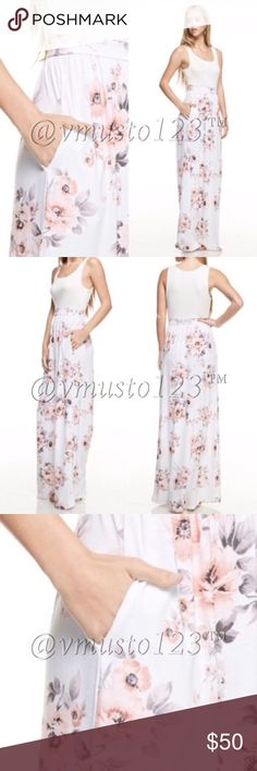 Boutique Blush & Gray Floral Print Maxi Dress Beautiful boutique blush & gray floral printed white maxi dress. Features functional side pockets, floral print on the skirt, crew neckline & long, soft maxi bodice. Fits true to size. Re-Poshing from the fabulous @Styledbyv. This is brand new & never worn or washed. Did not come with tags as it is a boutique item but it is brand new. Price firm. Dresses Maxi