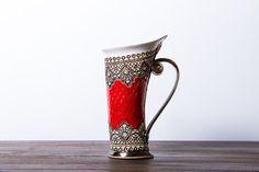 Tasse en céramique, tasse de thé, rouge Mug, tasse Unique, céramique et poterie, tasse en céramique, tasse à thé, tasse à café, tasse à café, céramique gobelet à la main, gobelet