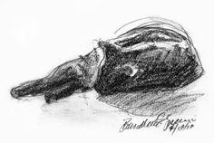 """Relaxed"", charcoal pencil, 6.5″ x 4.5″ © Bernadette E. Kazmarski"