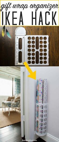 Popular Ikea Hack! What a GREAT, inexpensive DIY organizer!! Make this grift wrap organizer in less than 5 minutes, for $2!!! tutorial from http://heatherednest.com