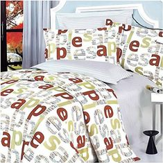 9160d2df287 HomyDelight Apple Letter 100% Cotton 4PC Duvet Cover Set Queen Size Green  fabric fashionable styles