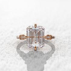 Dream Engagement Rings, Engagement Ring Cuts, Solitaire Engagement, Unconventional Engagement Rings, Emerald Cut Diamond Engagement Ring, Tanzanite Engagement Ring, Emerald Cut Diamonds, Diamond Cuts, Pink Diamonds