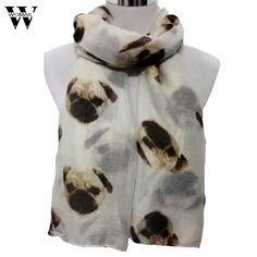 Womail Fashion Lady Womens Voile Long Cute Pug Dog Print Scarf Scarves Shawl Wrap Women's Girls Ladies Scarf  #23 1PC #Affiliate