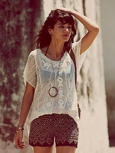boho style...embroidered shorts & peasant blouse