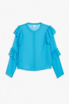 Monki Image 2 of Triple ruffled sleeve blouse in Turquoise Bluish