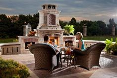 Umbriano and Copthorne paver patio with fireplace by Unilock - Photos