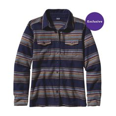 Patagonia Women\'s Long-Sleeved Fjord Flannel Shirt - Gaucho Stripe: Classic Navy GHCN