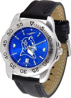 Duke University Blue Devils Men's Leather Band Sports Watch