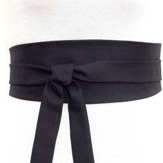 Soie haute couture ceinture obi noire mate, ceinture a nouer en soie noire,  réversible 127a81131b5