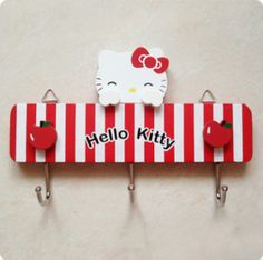 Hello Kitty Wooden Wall Hooks Hello Kitty Nursery, Hello Kitty Kitchen, Hello Kitty House, Sanrio Hello Kitty, Wooden Wall Hooks, Kitchen Themes, Geek Out, My Baby Girl, I Love Cats