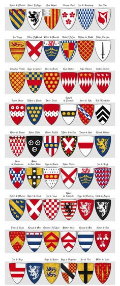 Modern illustration of The Dering Roll of Arms - Panel 4 - arms 163 to 216