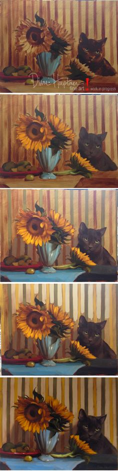 """The Set Up"" Oil on wood, 11"" x 14,"" (Sold) Stages of painting, work in progress, floral still life and cat painting by Diane Hoeptner http://www.dianehoeptner.blogspot.com/2015/01/the-set-up-floral-still-life-painting.html"