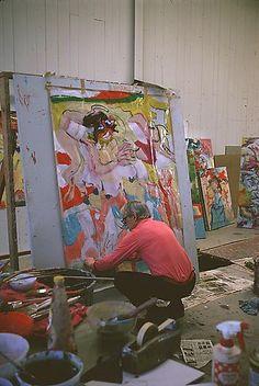 Willem de Kooning shown in his studio