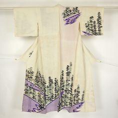 White tsukesage kimono /【踊り用着物】付け下げ/白地松林と鹿の子柄化繊単衣