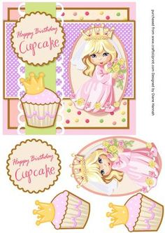 Cupcake Princess on Craftsuprint designed by Diane Hannah - Cupcake Princess is fast and easy to make. Includes decoupage elements. - Now available for download!