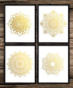 Gold Mandala Set | Modern Prints | Gold Prints | Office Decor | Home Decor | Printable Wall Art | Modern Wall Art | 8x10 | Instant Download