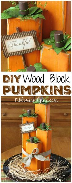 DIY Wood Block Pumpk