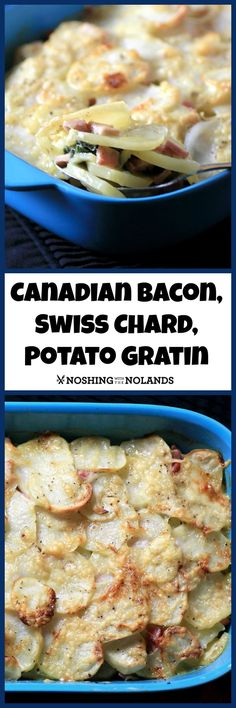 Canadian Bacon, Swiss Chard and Potato Gratin from Noshing With The Nolands is a flavorful side dish that will complement your Thanksgiving meal!