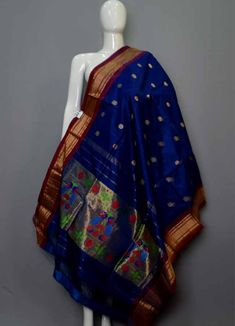 Paithani Darkend Blue Colour Dupatta Body Colour: :Blue Lenth Width Washing Care :Only Dry Wash Silk Dupatta, Pure Silk Sarees, Saree Dress, Sari, Pattu Saree Blouse Designs, Shadi Dresses, Bridal Silk Saree, Designer Silk Sarees, Blue Saree