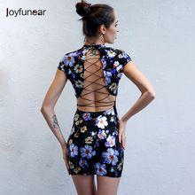 Joyfunear Fashion Back Tie Up Print Summer Dress Sexy Short Sleeve Elegant  Mini Dress Women Slim Fit Bodycon Short Dresses(China) 20acfae21bce