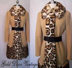 Vintage 50s Gorgeous Lilli Ann Huge Leopard Print Fur Mod Coat