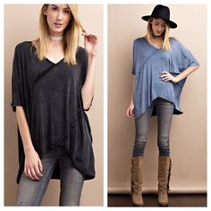 In stock and ready to ship to customers~    IN A SLOUCHY SILHOUETTED AND OIL WASHED LIGHTWEIGHT FABRIC, THIS SUPER COMFY PULLOVER HAS A PLUNGING SURPLICE V-NECKLINE!! This top if perfect for layering with jeans, thermal and vest now and with cutoffs and a baseball cap in warmer months! #yesplease    •    . Comment or DM with size (s-L), color (charcoal or indigo ) state and 🚫 email 🚫WITHOUT the @ sign (i.e.  Yourname AT gmail)    •    •    #musthave #mineralwash #oilwash #mineralwashedtop…