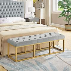 24KF Upholstered Tufted Long Bench with Golden Metal Leg, Velvet Bench with Padded Seat Durable golden iron frame legs and foam padded cushion for long lasting comfort. First class design and Construction make this piece a stunning addition to any room Tufted upholstered fabric in a sophisticated color palate . Perfect for rest, outdoor, restaurant, home, hotel, relax your life. Tools included for easy assembly. Long Bench, Outdoor Restaurant, Class Design, Color Palate, Mattress, Relax, Cushions, Velvet, Iron