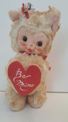 Vintage RUSHTON Rubber Face Cat Animal Be Mine Star Creation #Rushton
