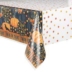 Painted Pumpkin Halloween Plastic Tablecloth 84 x 54 -- You can get more details by clicking on the image.