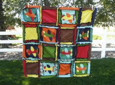 Rag Quilt, Applique Airplane, Baby Blanket, Made To Order