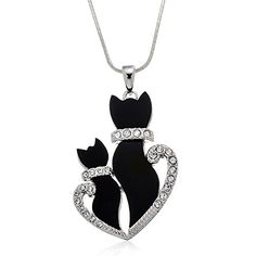 """PammyJ Momma and Baby Black Kitty Cat Crystal Pendant Necklace, 18\"""" ** You can find out more details at the link of the image."""